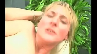 Dirty blonde opens sloppy pussy for garden fuckfest