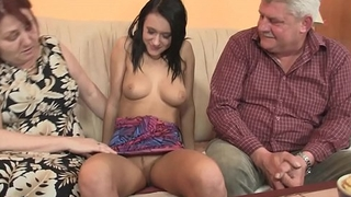 Very old couple fuck young brunette girl