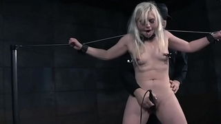 Submissive slave orgasms after being toyed
