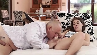 DADDY4K. Dirty girl experiences fantastic sex on sofa with old lover