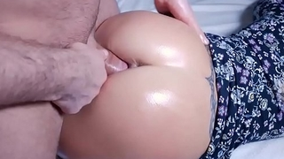 Hot Oil Ass Fuck and Cumshot on high Pussy