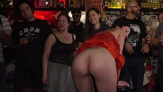 Master fucks brunette in public bar