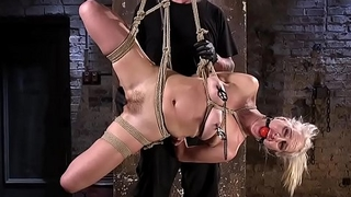Blonde gets fucked in hogtie