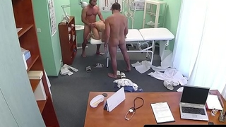 Slutty nurse enjoys a threeway with doctors