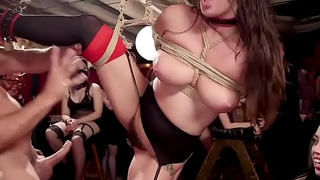 Group of babes having slave training