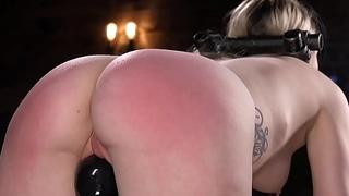 Blonde slave paddled with the addition of vibed